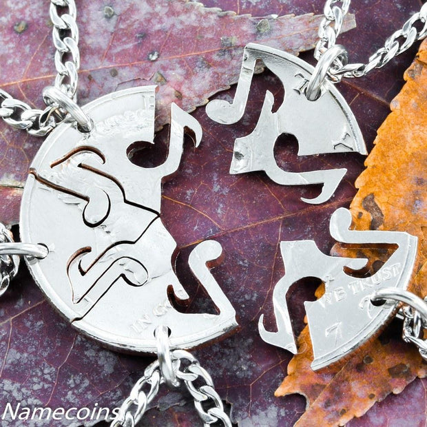 Music Note Jewelry, 5 Piece Interlocking Set cut from a Half Dollar, for band or family, hand cut coin