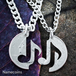 Music Note Necklaces, Couples Jewelry, You Make My Heart Sing relationship set, Hand Cut Quarter