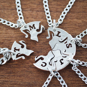8 Best Friends Music Note Necklaces with custom initials, Puzzle Jewelry