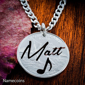 Your Name Necklace with Music Note, Personalized Jewelry, hand cut coin