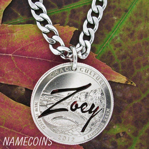 Namecoins, Name Necklace, hand cut on quarter Necklace or Keychain