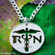 Nurse Necklace, RN Jewelry, cut on a special quarter, Handcrafted cut coin