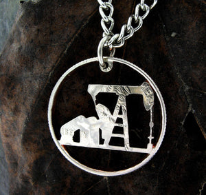 Oil rig necklace or keychain, hand cut coin