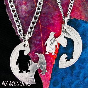 Penguin Couple Necklace, Hand cut coin Jewelry by Namecoins