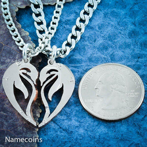 Penguin Necklaces making a heart, Hand cut coin Jewelry