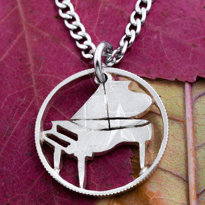 Piano Necklace, handcrafted cut coin Jewelry