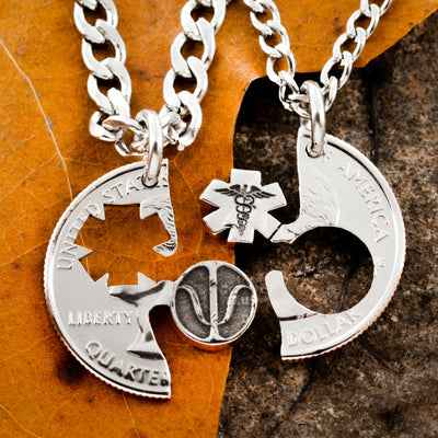 Nurses and Psychology necklaces, Medical couples jewelry