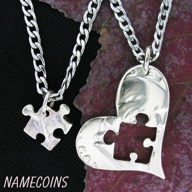 Puzzle Piece Necklace Heart, Half dollar, hand cut coin