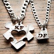 Heart Puzzle Piece with Initials Couples Necklaces, Custom cut Jewelry, His and Her anniversary gift