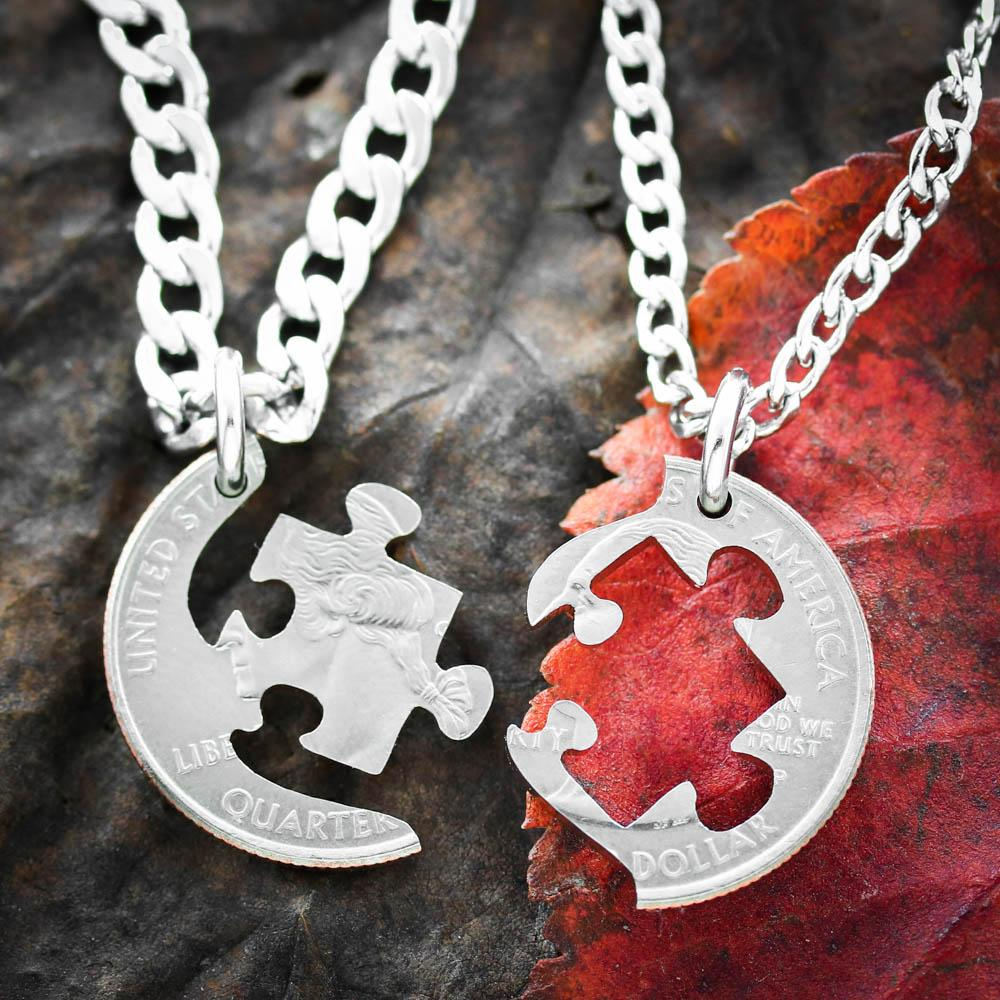 890ba036ac Puzzle Necklaces for 2, Puzzle Piece BFF Jewelry - Namecoins