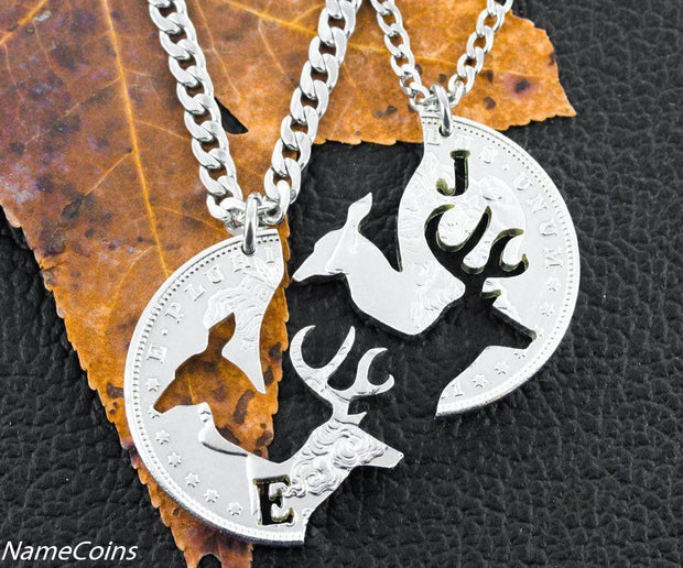 Real Silver Dollar Buck and Doe hand Cut with your initial on each, Cut Coin necklaces