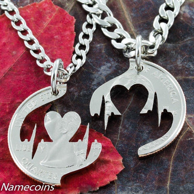 Heartbeat Couples Necklace, Heart Boyfriend Girlfriend Gift, hand cut coin
