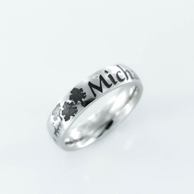 Country Family Name ring, Deer and forest scene