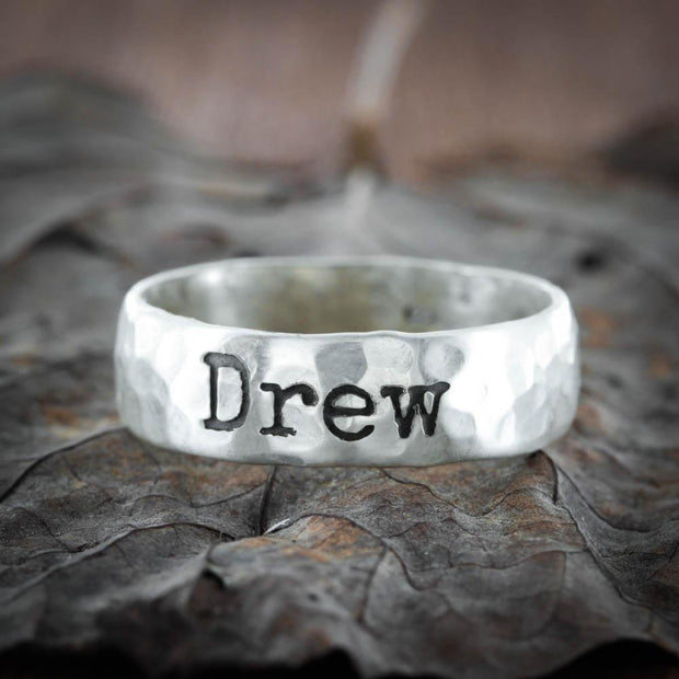 Hammered Name Ring, Vintage Silver 7 mm ring