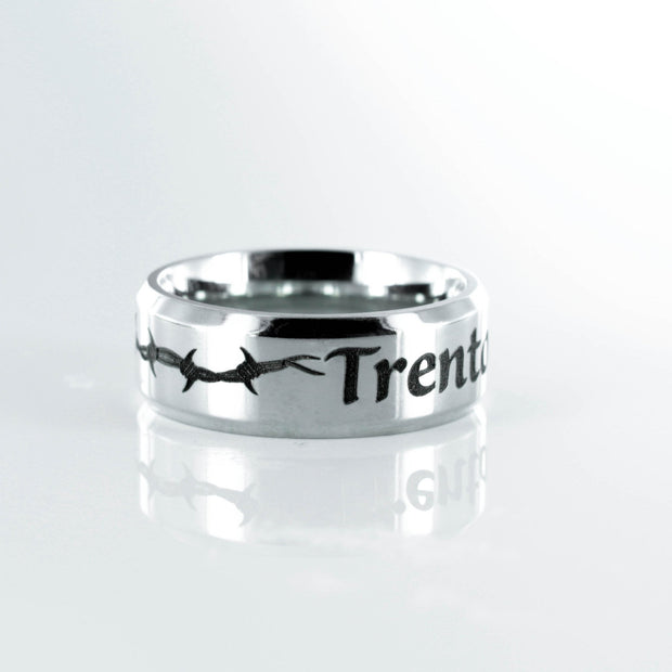 Barbed Wire Name Ring, Stainless Steel 7mm