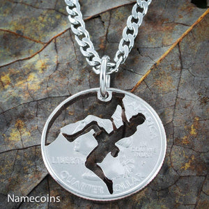 Rock Climber Necklace, climbing jewelry, Hand Cut Coin