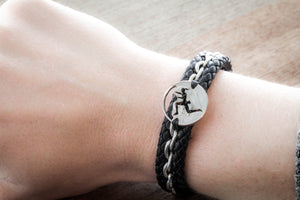 Rock Climbing Leather Bracelet, Guy or Girl Design, Rock Climber Jewelry