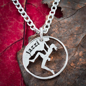 Woman Rock Climbing Necklace with Custom Name Engraved