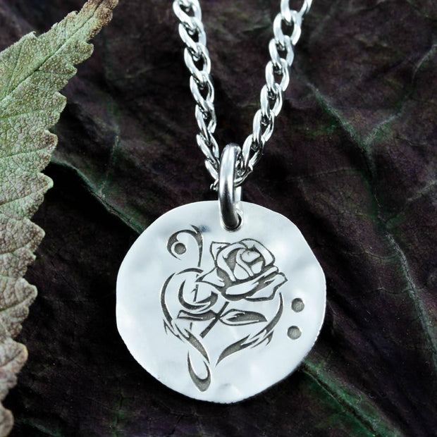 Rose and Music Note Silver Necklace
