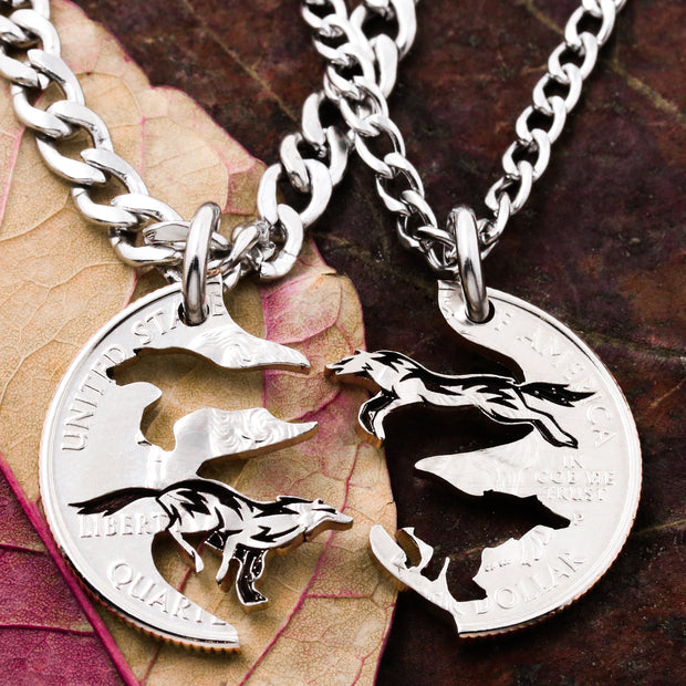 Running Wolves Couples and Best Friends Necklaces