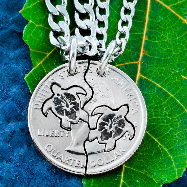 Sea Turtle Best Friends Necklaces with Hibiscus flowers Engraved