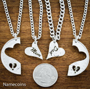 Silver Mom and Dad family of 4 Necklaces, Hand Cut Silver Dollar