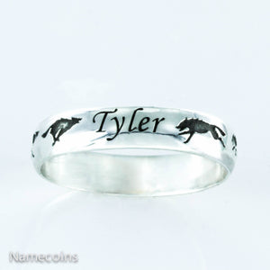 Silver Wolf Name ring, Running wolves with custom name
