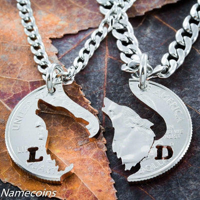 Customized Howling Wolf necklace, His and hers matching initials Couples jewelry, hand cut coin