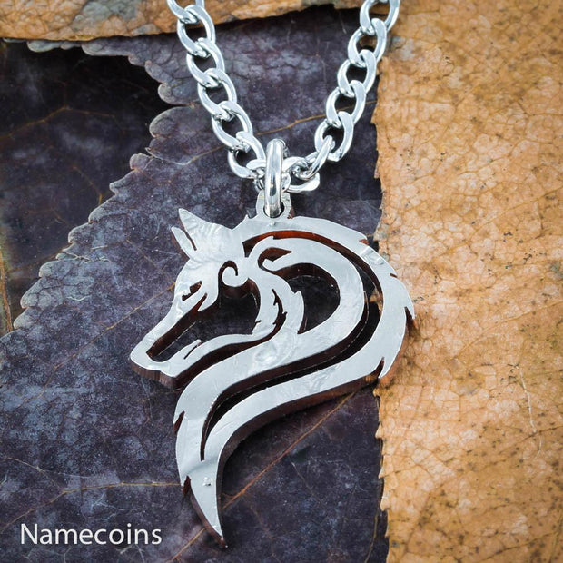 Lone Wolf Necklace, Hand cut single wolf coin jewelry