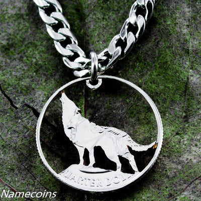 Wolf Jewelry, Howling, Hand Cut Coin, Quarter