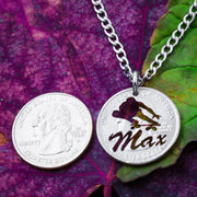 Personalized Skateboarder Necklace, Custom Name Engraved