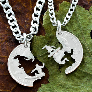 Snowboarding Couples Necklaces, Snowboard Gifts, Relationship and Best Friends Jewelry