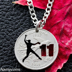 Softball Fastpitch Customizable Jersery Number Hand Cut Coin Necklace
