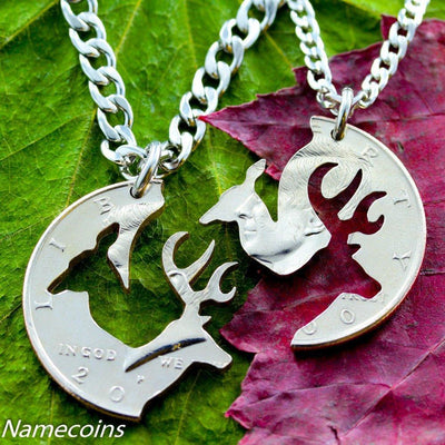 Stag and Doe, Buck and doe necklace relationship cut on a half dollar interlocking set