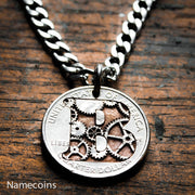 Steampunk Monogram Necklace, Initial Jewelry, Gears engraved inside