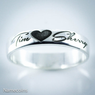 Custom Couples Silver Name Ring, 2 names with a heart