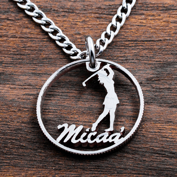 Girl Golfer Jewelry, Personalized Name Golf Ball Marker