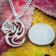 Tiger Necklace, Tribal pendant, Hand Cut coin