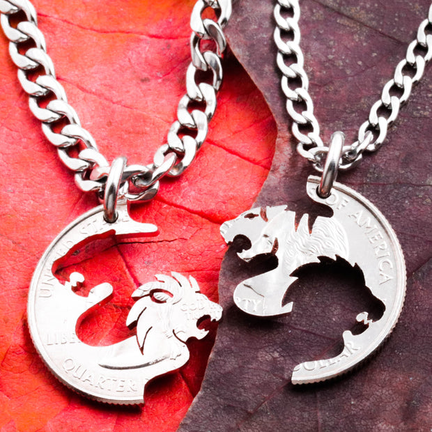 Lion and Tiger Couples Necklaces, BFF or Couples Jewelry