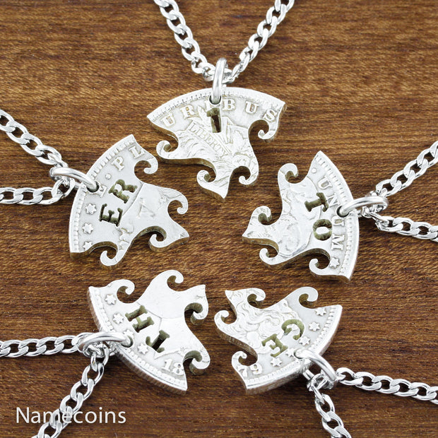 Together One silver Family 5 piece necklace set, Interlocking puzzel, hand cut Morgan silver Dollar