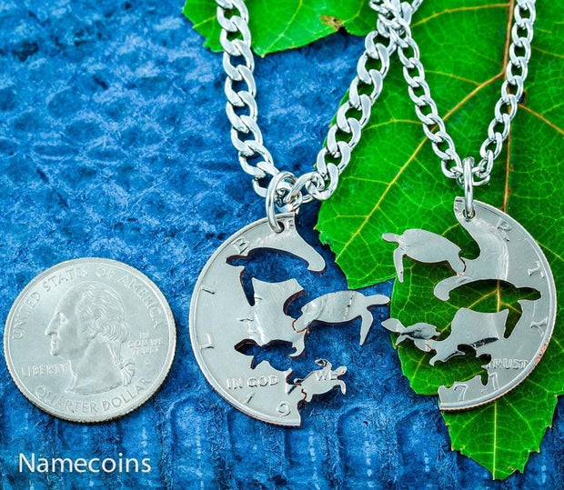 Turtle Necklaces with Baby Sea Turtles, Interlocking Pendants for parents
