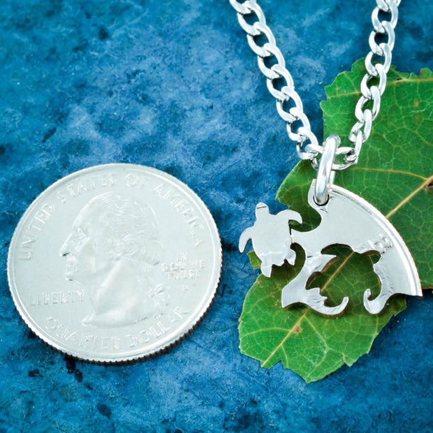 5 Best Friends Sea Turtle Necklaces, Puzzle Family Jewelry Coin by Namecoins