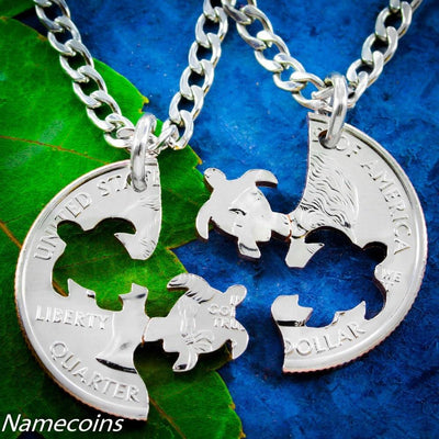 Turtle Best Friends Necklaces, Interlocking set