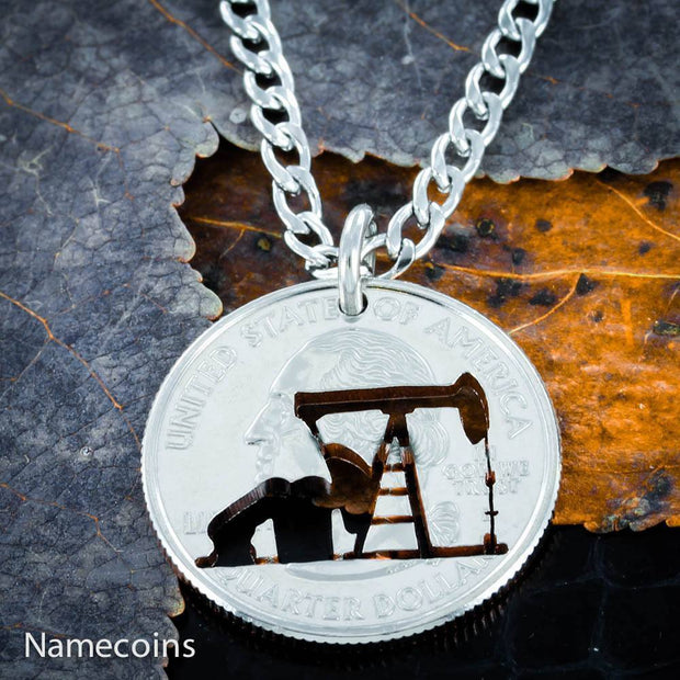 Pump Jack wife jewelry, Oil field monkey necklace or keychain, hand cut coin