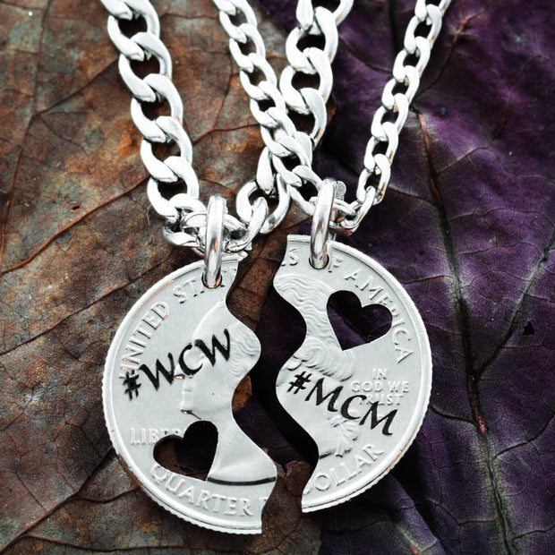 Heart Couples Necklaces with woman crush and man crush by Namecoins