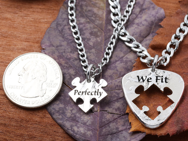 Puzzle Piece Cut from a Guitar pick, Couples Necklaces