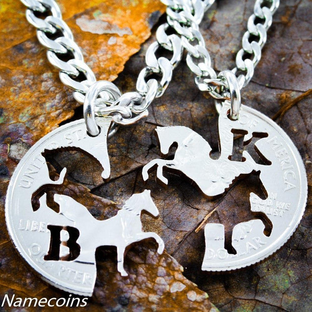 Western Jewelry, Horse Necklaces with initials Cowboy and Cowgirl Necklaces, Interlocking set, Prancing and Rearing Horses, hand cut coins