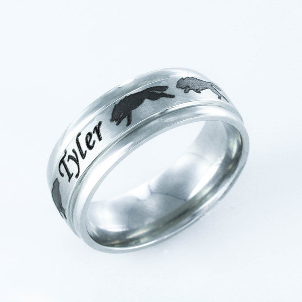 Wolf Pack Custom Name ring, Stainless Steel
