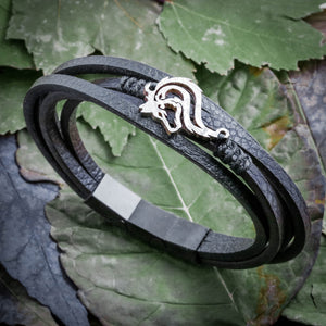 Wolf Bracelet, Fine Leather With magnetic clasp