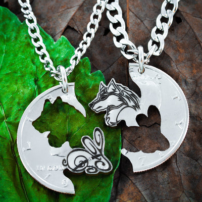 Wolf and Rabbit Couples Necklaces, Relationship Jewelry